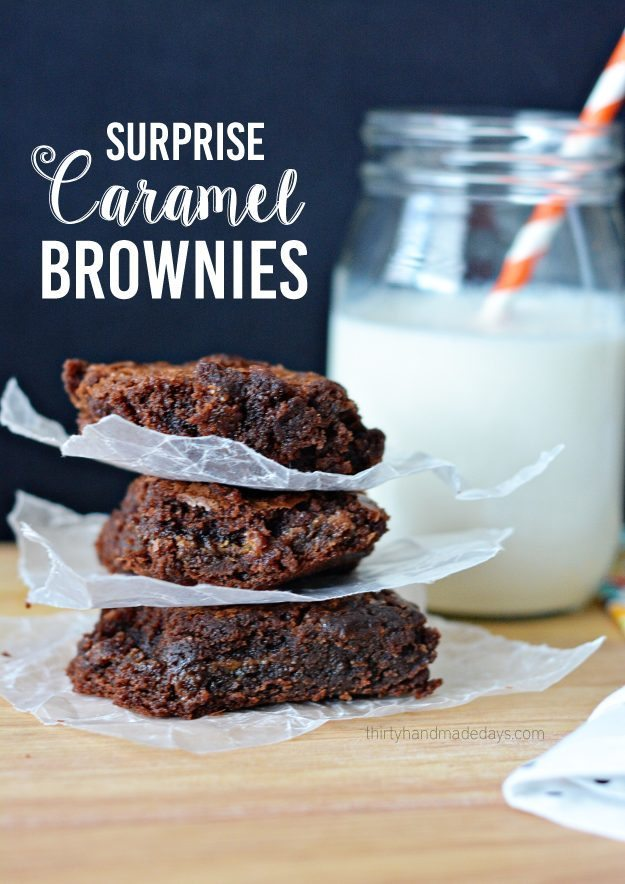 Surprise Caramel Brownies - they taste so great and are simple to make! Thirty Handmade Days