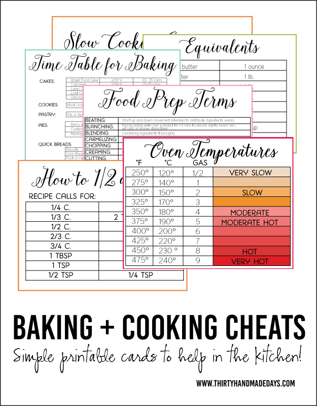 Printable Baking and Cooking Cheats- free cards full of information www.thirtyhandmadedays.com