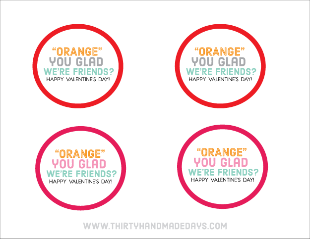 Orange you glad ....we're friends printable Valentine's