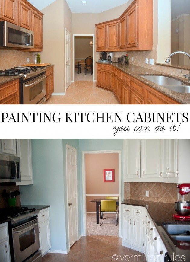 A diy project painting your kitchen cabinets for Painting kitchen cabinets