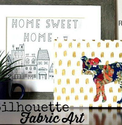 Dog Silhouette Fabric Art