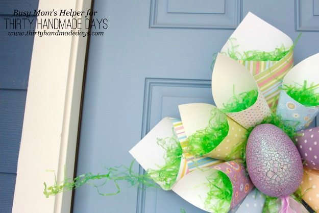 Easter Paper Cone Wreath / Busy Mom's Helper for ThirtyHandmadeDays.com