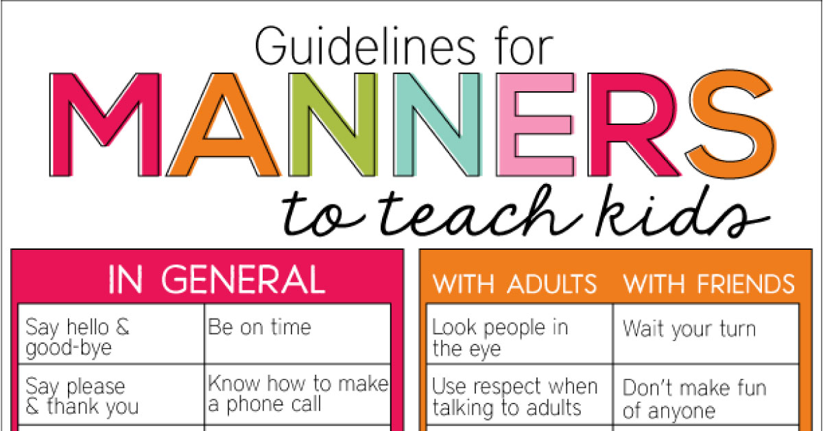 graphic regarding Table Manners for Kids Printable titled Legislation for Manners in direction of Train Small children