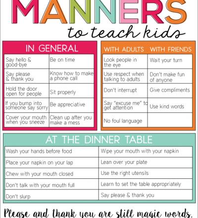 Guidelines for Manners to Teach Kids www.thirtyhandmadedays.com