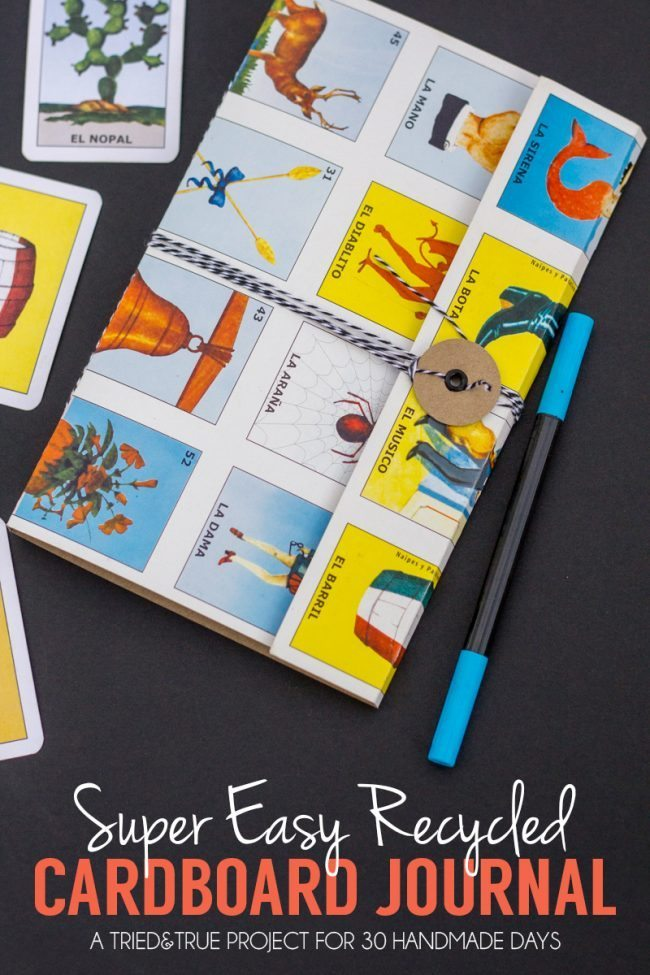 Save the Earth and the bank by making this Super Easy Recycled Cardboard Journal!