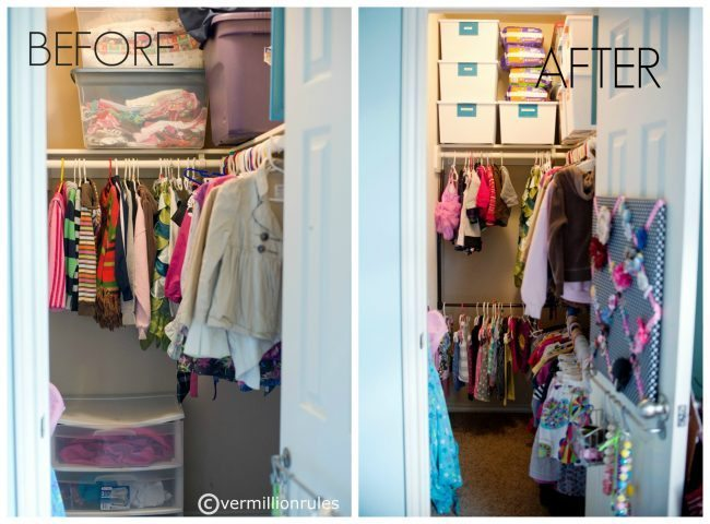 Organizing a Kid Friendly Closet from Beth via www.thirtyhandmadedays.com Before and after!