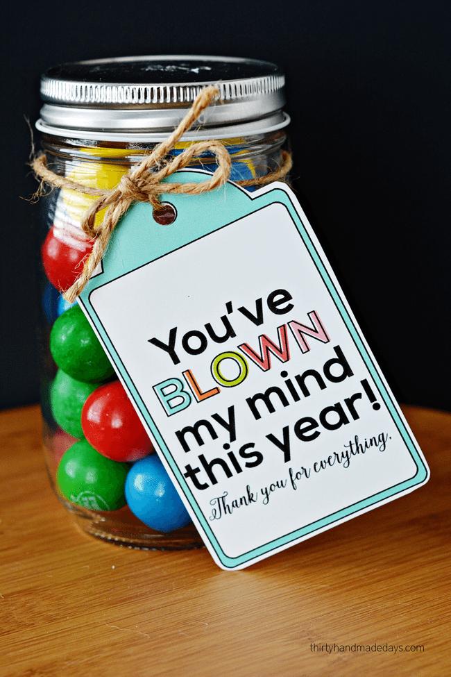 """Fun Teacher Appreciation Gift - """"You've blown my mind!"""" www.thirtyhandmadedays.com"""