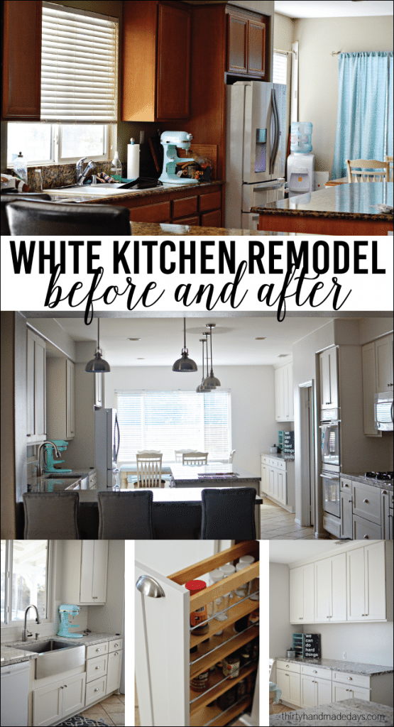 White Kitchen Remodel - before and after from www.thirtyhandmadedays.com