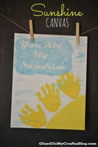 Good Handprint Sunshine Canvas from Glued to My Crafts Blog Mother us Day Gift Ideas by BusyMomsHelper for ThirtyHandmadeDays