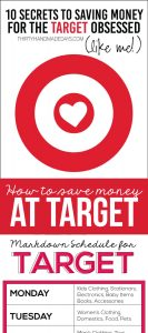 10 Secrets to Saving Money for the Target Obsessed (like me!) from www.thirtyhandmadedays.com