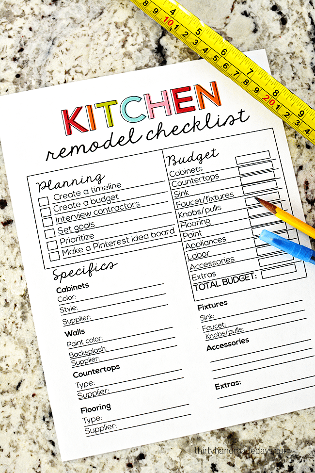 Kitchen Remodeling Checklist Kitchen Remodel Checklist