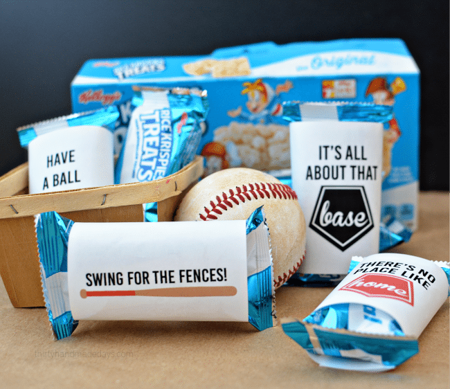 Printable Baseball Wrappers for Rice Krispies Treats from Thirty Handmade Days