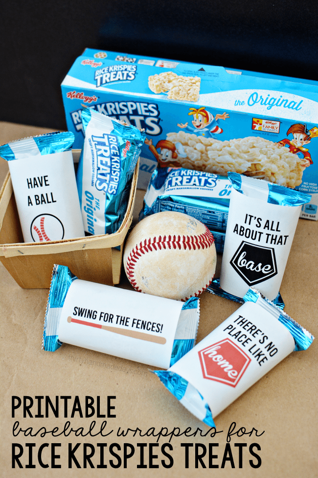 Printable Baseball Wrappers for Rice Krispies Treats from www.thirtyhandmadedays.com
