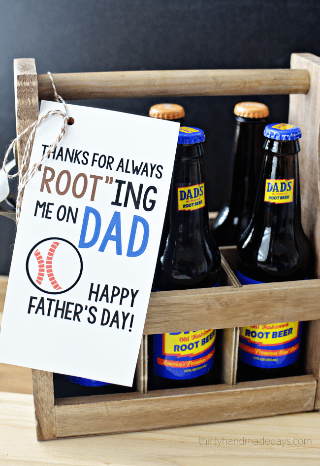 Printable Root Beer Father's Day Gift Idea from thirtyhandmadedays.com