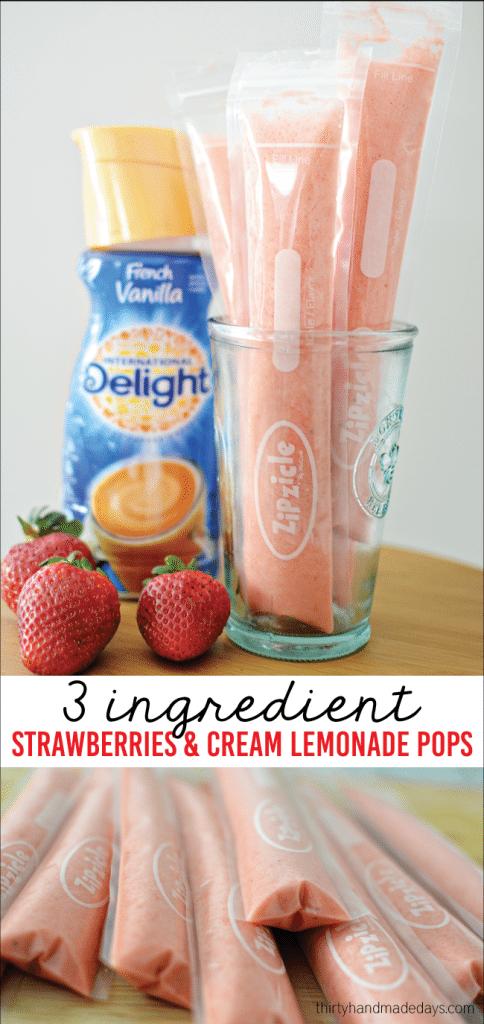 3 Ingredient Creamy Strawberry Lemonade Pops from Thirty Handmade Days
