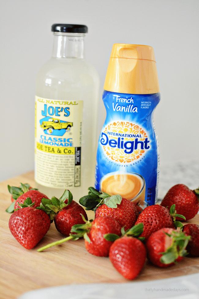 3 Ingredient Strawberries and Cream Lemonade Pops ingredients from www.thirtyhandmadedays.com