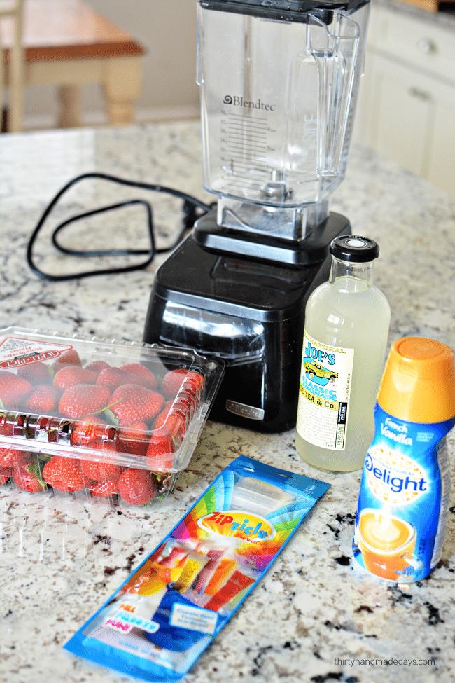 3 Ingredient Strawberries and Cream Lemonade Pops ingredients