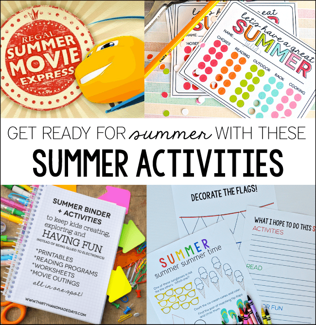 Get read for summer with these summer activities from www.thirtyhandmadedays.com
