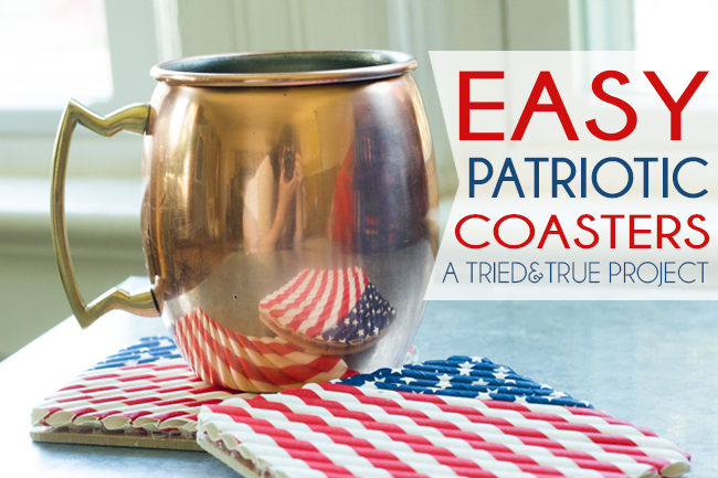 Patriotic Straw Coasters - learn how to make these cute coasters from Tried and True Blog!