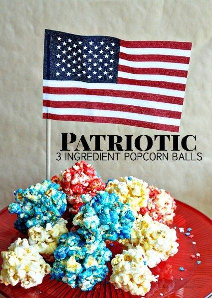 3 Ingredient Patriotic Popcorn Balls