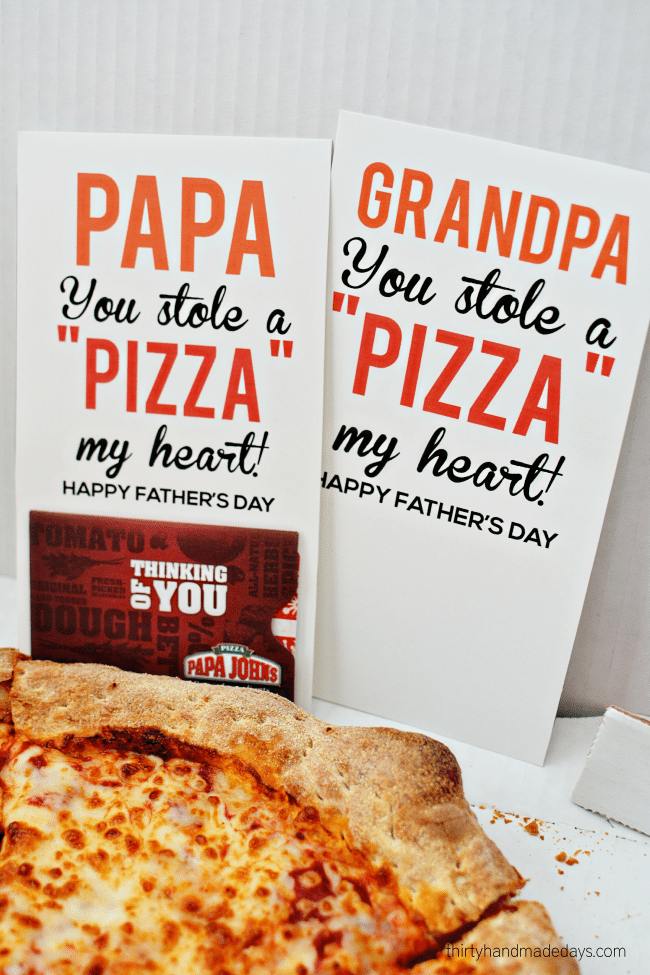 Papa You Stole a Pizza My Heart - fun Father's Day gift from www.thirtyhandmadedays.com