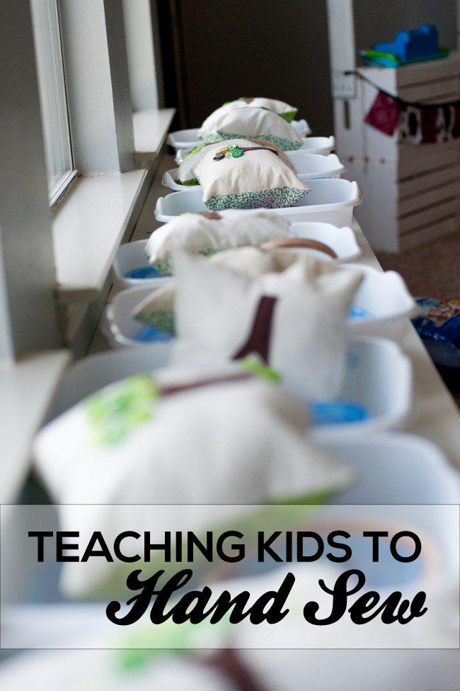 Teaching Kids to Hand Sew from Vermillion Rules via www.thirtyhandmadedays.com