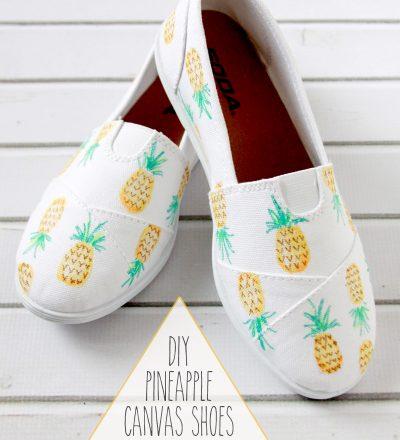 DIY Pineapple Cavas Shoes