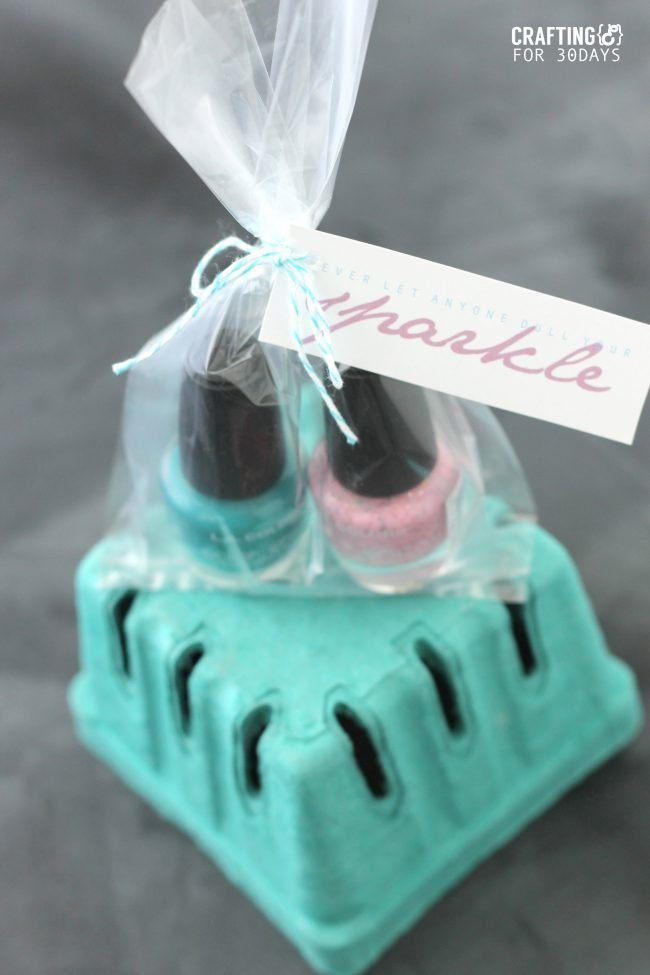 Nail Polish Gift Idea + Printable Tag  via Thirty Handmade Days