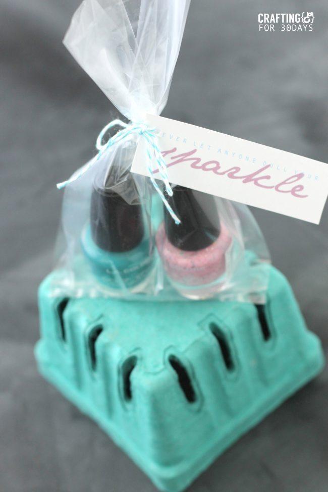 Nail Polish Gift Idea + Printable Tag  via Thirty Handmade Days
