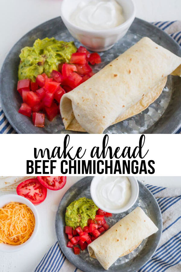 Make Ahead Beef Chimichanga Recipe - you can make a bunch to eat throughout the month. www.thirtyhandmadedays.com