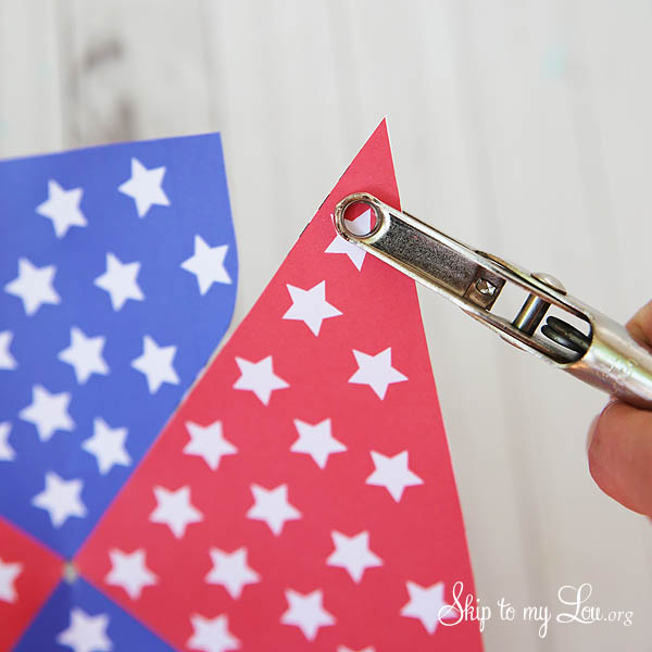 4th of July Patriotic Printable Pinwheel - punch a hole in the corners