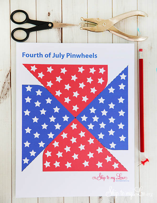 4th of July Patriotic Printable Pinwheel - sheet with supplies