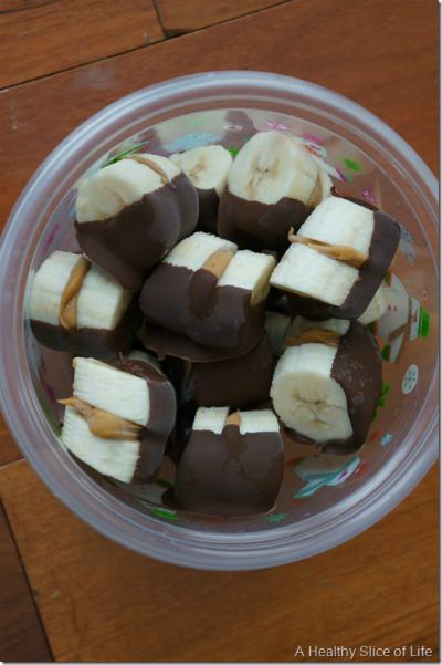 Chocolate Dipped Almond Butter Banana Bites / by A Healthy Slice of Life / Round up by Busy Mom's Helper for Thirty Handmade Days
