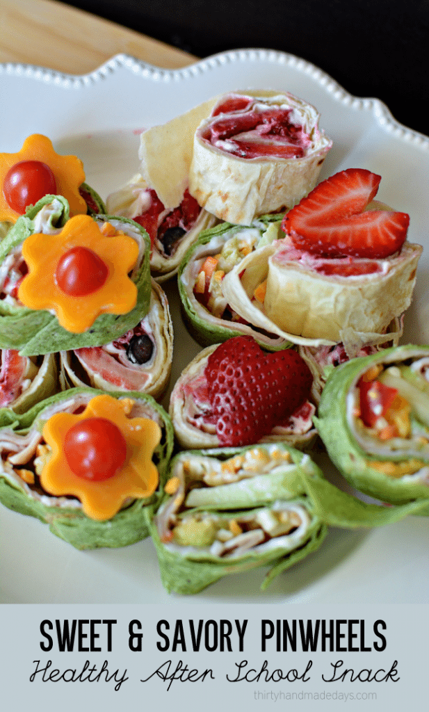 Sweet and Savory Pinwheels - healthy after school snack ideas from www.thirtyhandmadedays.com