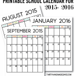 Printable School Calendar for 2015-2016