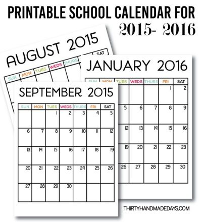 Printable School Calendar for 2015-2016 from www.thirtyhandmadedays.com