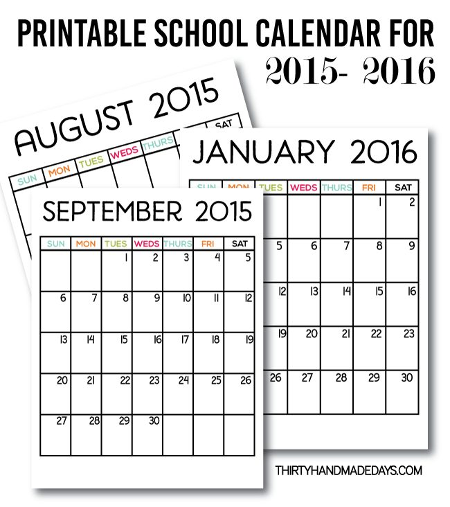 printable school calendar for 2015