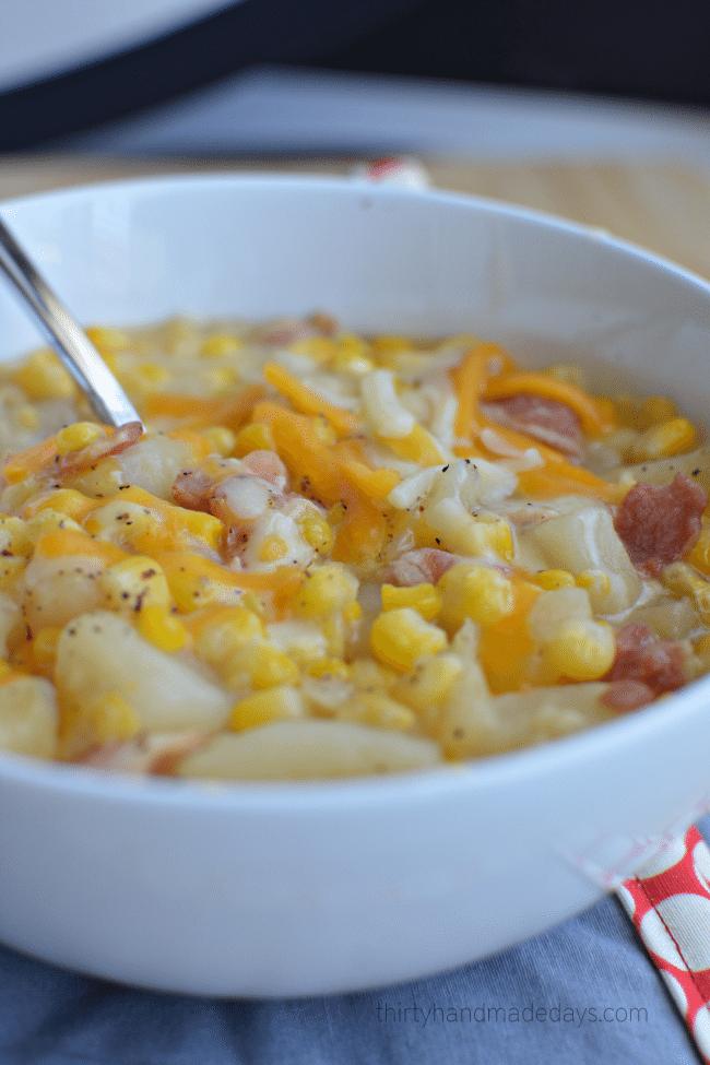 Slow Cooker Corn Chowder from www.thirtyhandmadedays.com