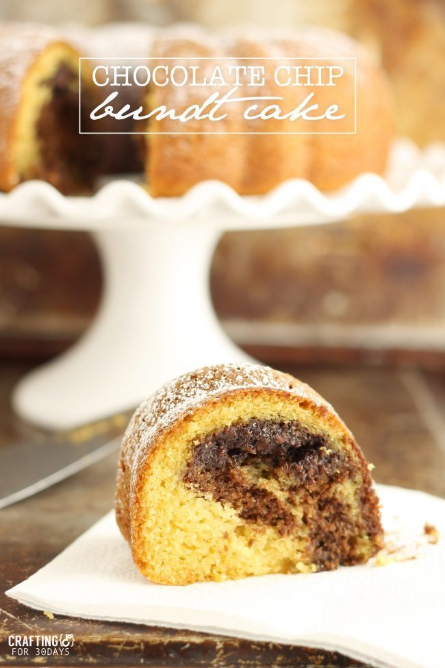 Easy Chocolate Chip Bundt Cake from Crafting E for Thirty Handmade Days