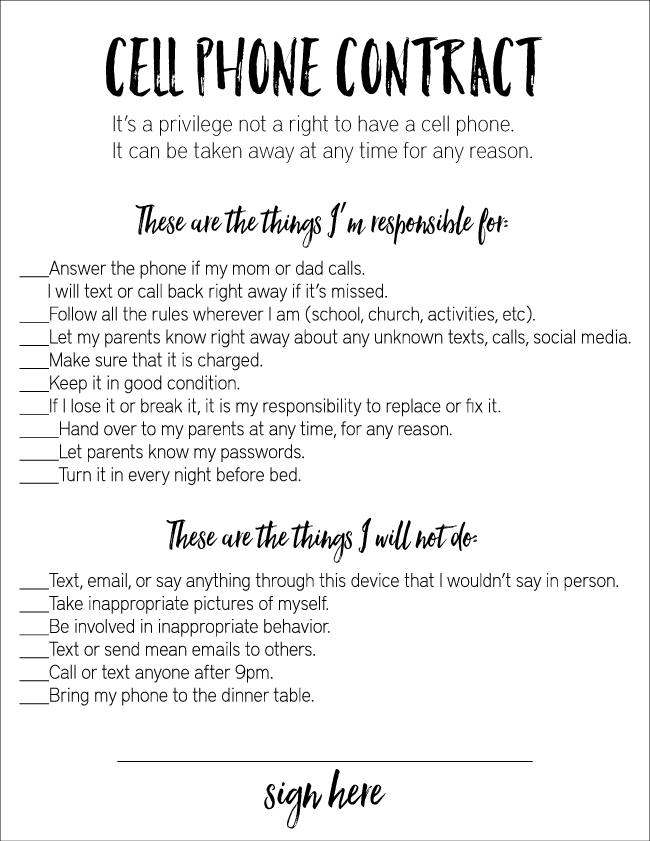 Cell phone contract - an awesome guideline for kids technology. Print it out from www.thirtyhandmadedays.com