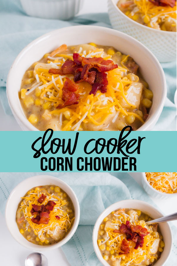 Slow Cooker Corn Chowder - the perfect thing to make in the fall to warm you up. So good and easy to make!