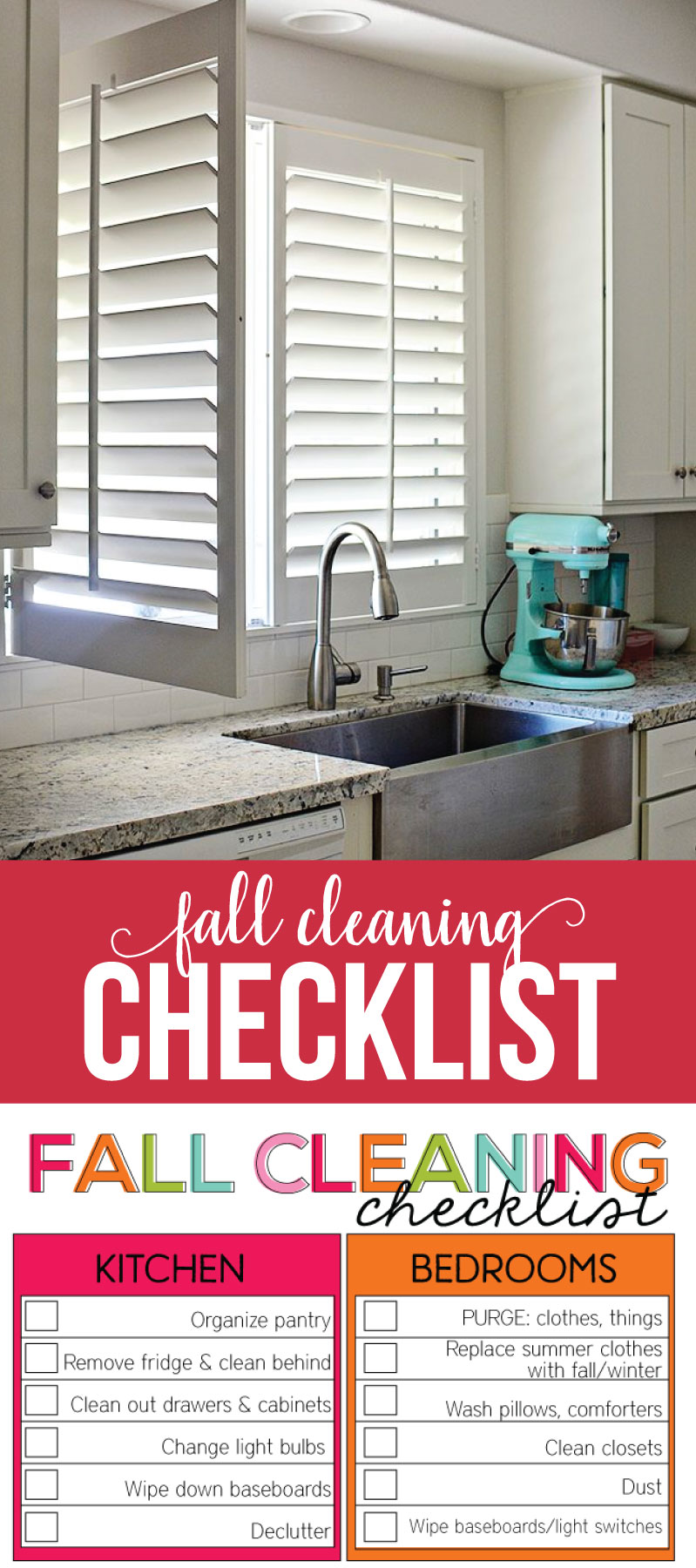 How to clean plantation shutters and printable fall cleaning checklist from www.thirtyhandmadedays.com