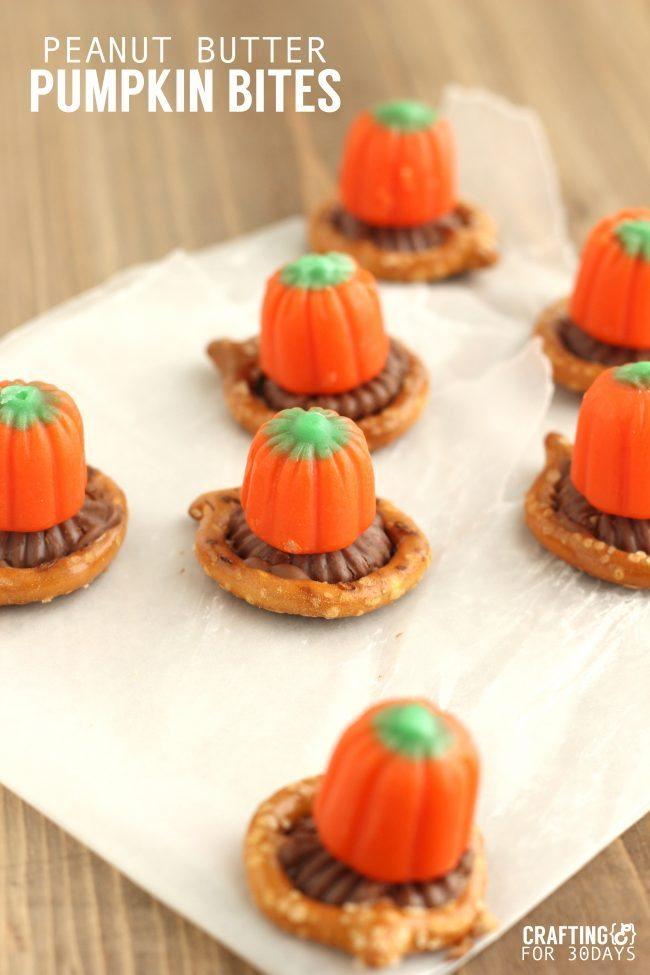 Peanut Butter Pumpkin Bites from Crafting E via Thirty Handmade Days