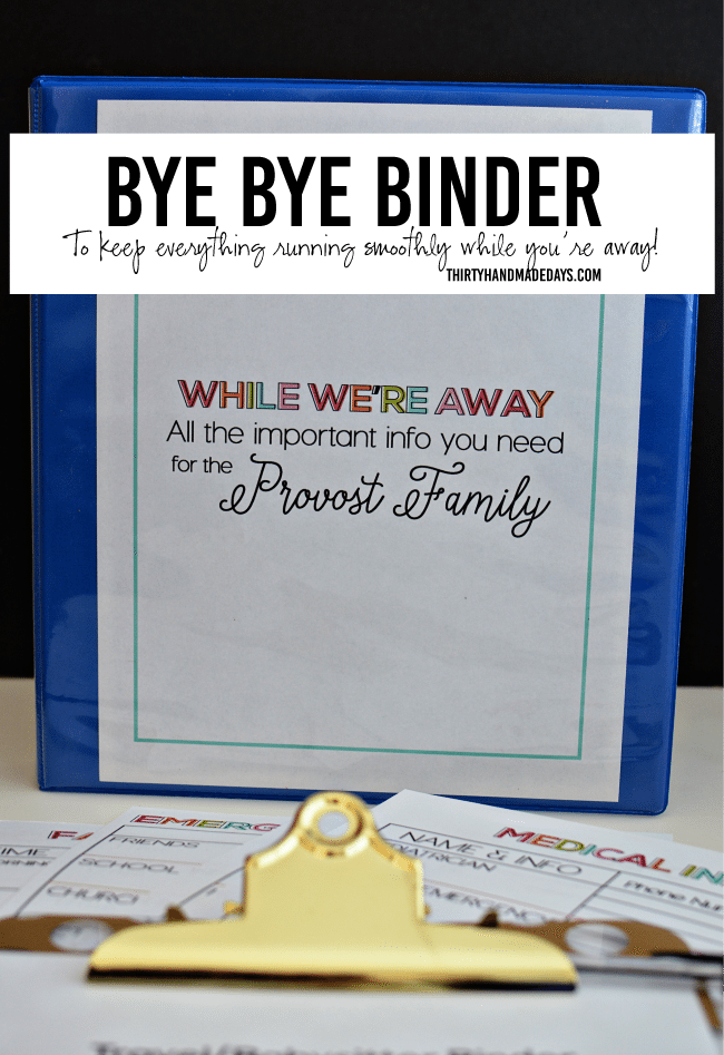 Bye Bye Travel Binder for Babysitting from www.thirtyhandmadedays.com