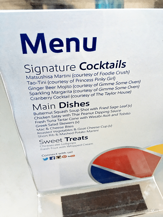 Menu from Southwest Air Dinner