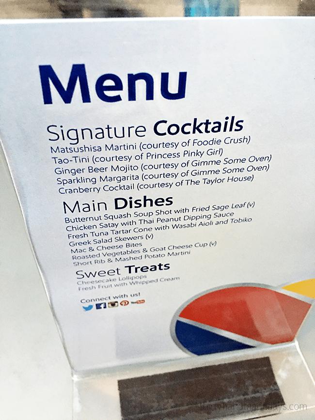 Menu from Southwest Air Dinner