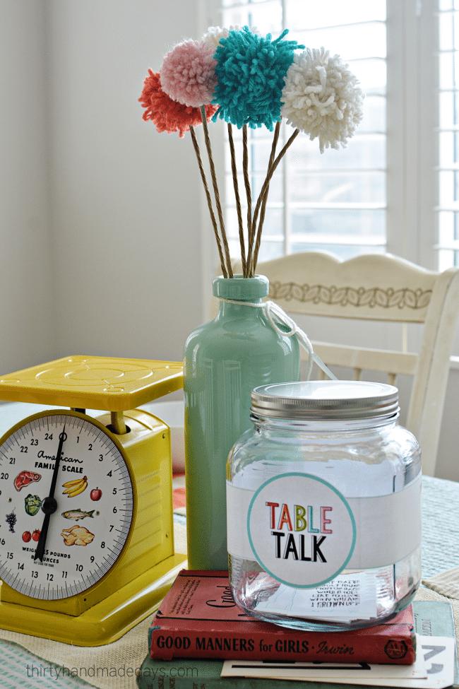 Table Talk - Dinner table idea for families www.thirtyhandmadedays.com