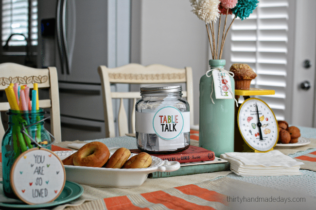 Table Talk - Dinner table idea with printable questions for families www.thirtyhandmadedays.com