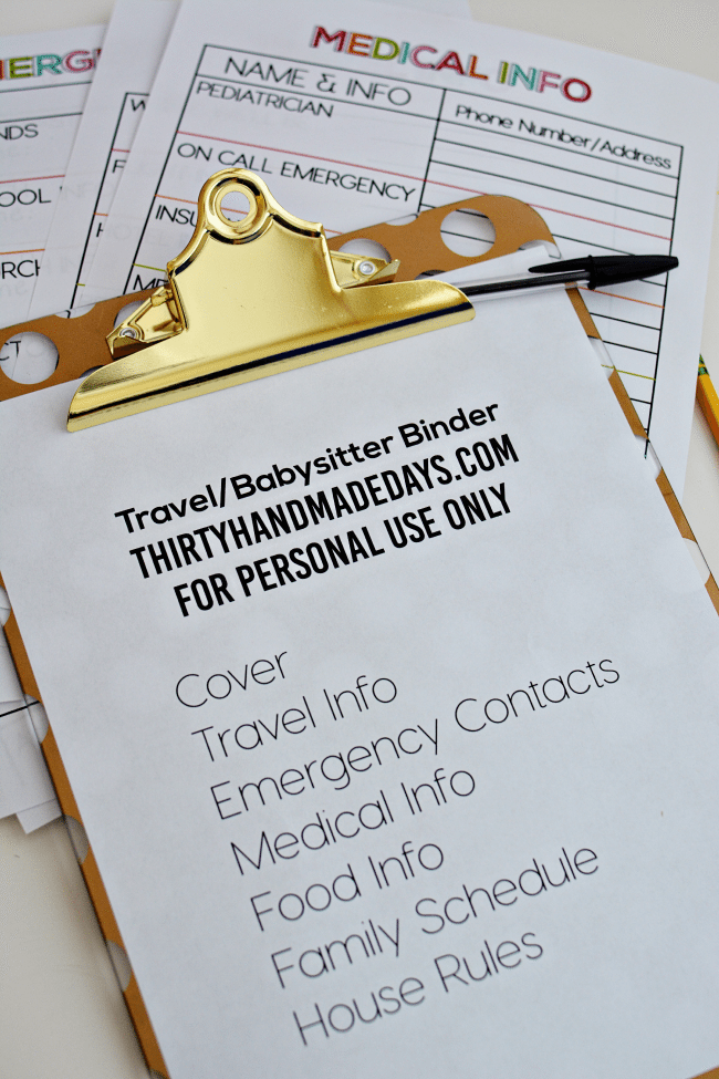 Travel Binder Printables for Babysitting from www.thirtyhandmadedays.com