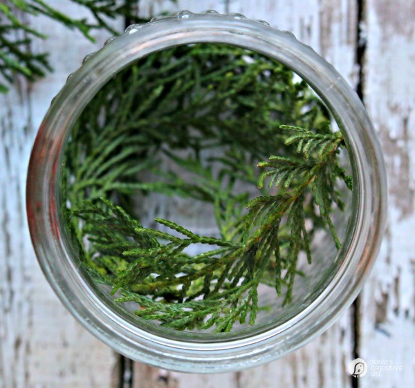 5 Minute Christmas Luminaries - easy to make and make your house smell good! What you need, greenery